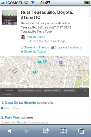 Ruta TurisTIC en foursquare