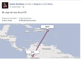 Información del vuelo desde el app de delta para facebook